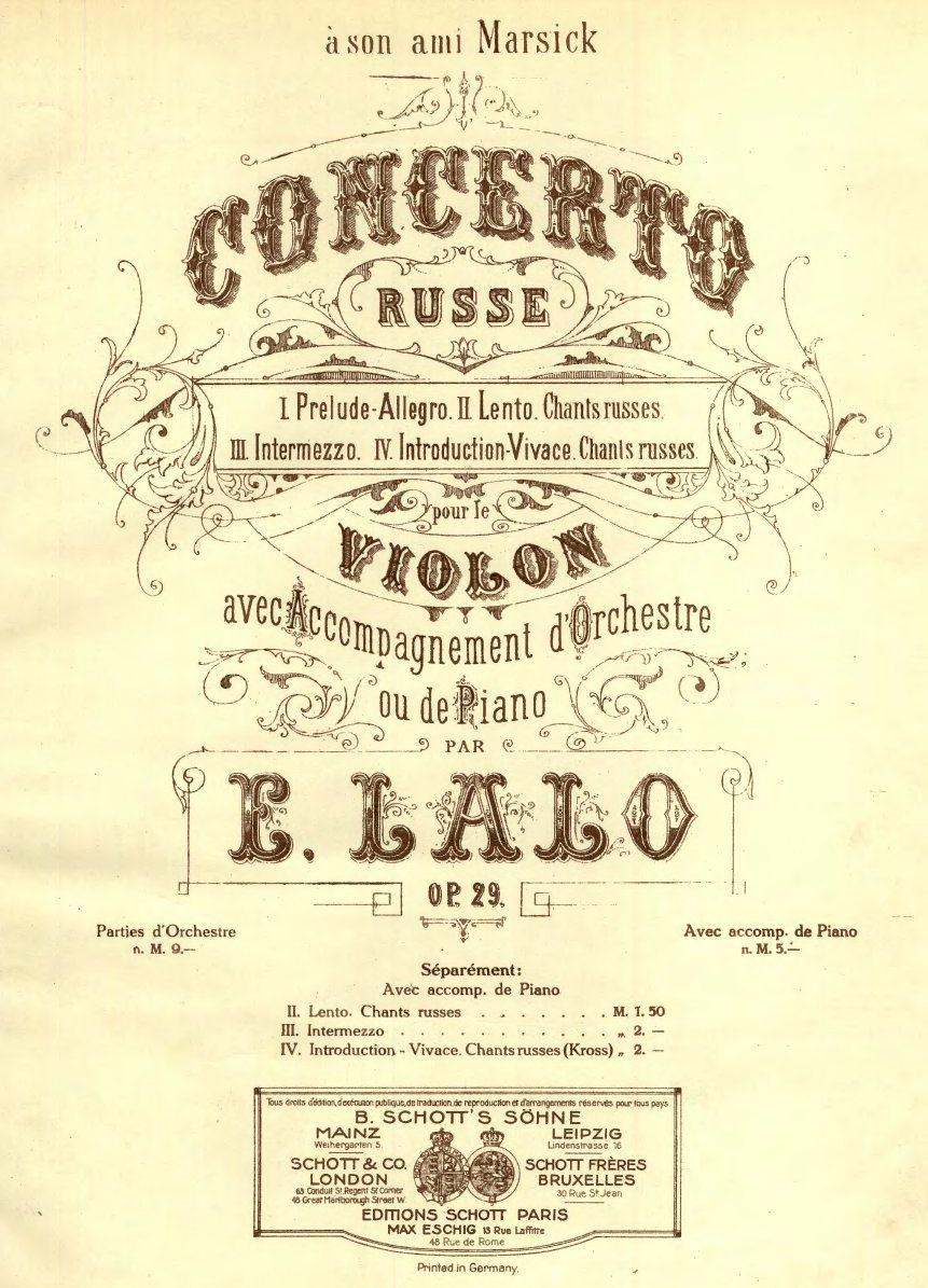 Lalo, op. 29