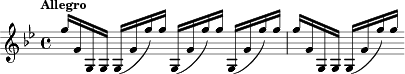 "\relative c'' { \clef treble \key g \minor \time 4/4 \tempo ""Allegro"" g'16 g, g, g g (g' g') g g,, (g' g') g g,, (g' g') g g g, g, g g (g' g') g}"