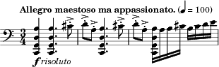 "{ \clef bass \key c \major \time 3/4 \tempo ""Allegro maestoso ma appassionato."" 4 = 100