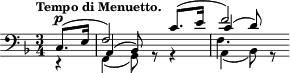 "\relative c { \time 3/4 \key f \major \clef bass \tempo ""Tempo di Menuetto."" \partial 4 << { c8.^\p( e16 f2) c'8.( e16 f2) } \\ { r4 f,,( g8) r r4 a( bes8) r } \\ { s4 a( bes8) s s4 c'( d8) s } \\ { s4 s2. f,4. s8 } >> }"