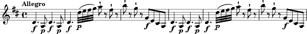 \relative c'' { \clef treble \key d \major \time 4/4  