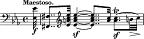 "\relative c' { \time 4/4 \key c \minor \clef bass \tempo ""Maestoso."" \partial 32 <ees ees,>32-\f <fis, fis,>8.. \clef treble <ees'' c a ees>32 <ees c a ees>4-\sf~ <ees c a ees>8.. <c a>32 <c a>8.\trill(-\sf b32\> c)\! }"