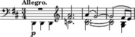 "\relative c' { \time 3/4 \key d \major \clef bass \tempo ""Allegro."" << {R2. \clef treble <fis a>2. a4( g2)~ g( fis8 e)} \\ {d,,4-\p d d \clef treble c''2. <d b>2.~ <d b>2 <b g>4} >> }"