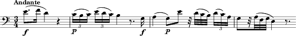"\relative c' { \key c \major	 \time 3/4 \clef bass \hide TupletBracket \tempo ""Andante"" e8.( _\markup { \dynamic f } f16 d4) r4 