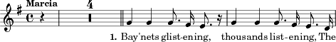 "\relative c'' { \clef treble \autoBeamOff \dynamicUp \key g \major \time 4/4 \tempo ""Marcia"" \compressFullBarRests \partial 4 r4 