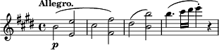 "\relative c'' { \time 4/4 \key e \major \clef treble \tempo ""Allegro."" b2-\p( <e e,> cis <fis fis,>) dis( <b' b,>) b4.( cis16 dis e4-.) r }"