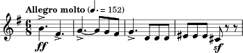 "\relative c'' { \key g \major \time 6/8 \tempo ""Allegro molto"" 4. = 152 \clef treble b4.->\ff fis-> 