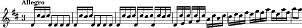 "\relative c' { \key d \major \time 3/4 \tempo""Allegro"" \override Staff.TimeSignature.style = #'single-digit \override Score.NonMusicalPaperColumn #'line-break-permission = ##f
