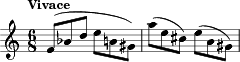 "\relative c' { \key c \major \time 6/8 \tempo ""Vivace"" \clef treble f8( bes d e b gis ) 