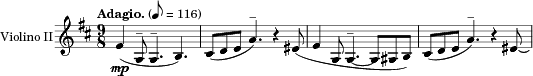 "\relative c' {\version ""2.18.0"" \set Staff.instrumentName = #""Violino II"" \key d \major \clef treble \time 9/8 \tempo ""Adagio."" 8=116 fis4_\mp( a,8^- a4.^- b4.) cis8([ d e] a4.)^- r4 eis8( fis4 a,8 a4.~^- a8[ ais b]) cis([ d e] a4.)^- r4 eis8\laissezVibrer }"