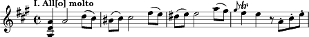 "\relative c' { \clef treble \key a \major \time 2/2 \tempo ""I. All[o] molto""