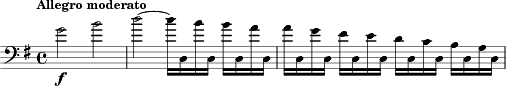 "\relative c'' { \version ""2.18.0"" \key g \major	 \time 4/4 \clef bass \tempo ""Allegro moderato"" g2 _\markup{\dynamic f} b2 