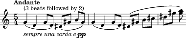 "\relative c'' { \time 5/4 \key c \major \clef treble \tempo ""Andante"" g^""(3 beats followed by 2)""_\markup{ \italic ""sempre una corda e"" \dynamic pp }( e g8 e ) dis( gis b gis ) 