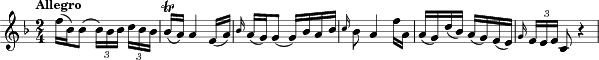 "\relative c'' { \clef treble \key f \major \time 2/4 \tempo ""Allegro""