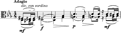 "\relative c { \clef alto \key es \major \time 4/8 \tempo ""Adagio"" 