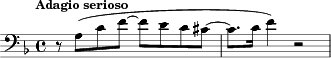 "\relative c' { \clef bass \key d \minor \time 4/4 \tempo ""Adagio serioso""