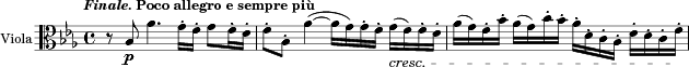 "\relative c'{ \version ""2.18.0"" \set Staff.instrumentName = #""Viola"" %{Strings basically in unison/octave-unison for first 3.5 bars. %} \tempo \markup{\line {\italic""Finale.""}{""Poco allegro e sempre più""}} \key es \major \time 4/4 \clef alto r8 bes_\p as'4. g16[-. f]-. g8[ f16-. es]-. f8[-. bes,]-. as'4\(~ as16[ g\) g-. f]-. g_\cresc[( f) f-. es]-. as[( g) f-. bes]-. as[( g) c-. bes]-. as[-. d,-. c-. bes]-. es[-. d-. c-. f\!]-.  }"