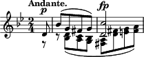 "\relative c' { \time 2/4 \key g \minor \clef treble \tempo ""Andante."" \partial 8 << { d8^\p bes'([ g fis g]) <d c'>2^\fp } \\ { r8 r <d bes>([ <c a> <bes g>] <a fis>[ <fis' d> <g e> <a fis>]) } >> }"