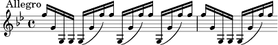 "\relative c'' { \clef treble \key g \minor \time 4/4 \mark ""Allegro""
