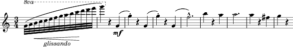 "\relative c'' { \clef treble \key c \major \time 3/4  \tempo """" \partial 4