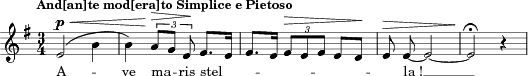 "\relative c' { \clef treble \autoBeamOff \dynamicUp \key e \minor \time 3/4  \tempo ""And[an]te mod[era]to Simplice e Pietoso"" \compressFullBarRests  e2\p\(\< \melisma b'4 \melismaEnd 