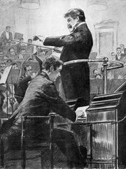 Easthope Martin pedalling the Grieg Concerto in 1912 with Artur Nikisch and the London Symphony Orchestra.
