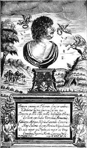 Robert Herrick (1591–1674), portrayed on the title page of his Hesperides (1648)