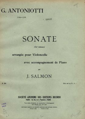 Antoniotti - Sonata G minor for Cello and Piano Salmon color cover.jpg