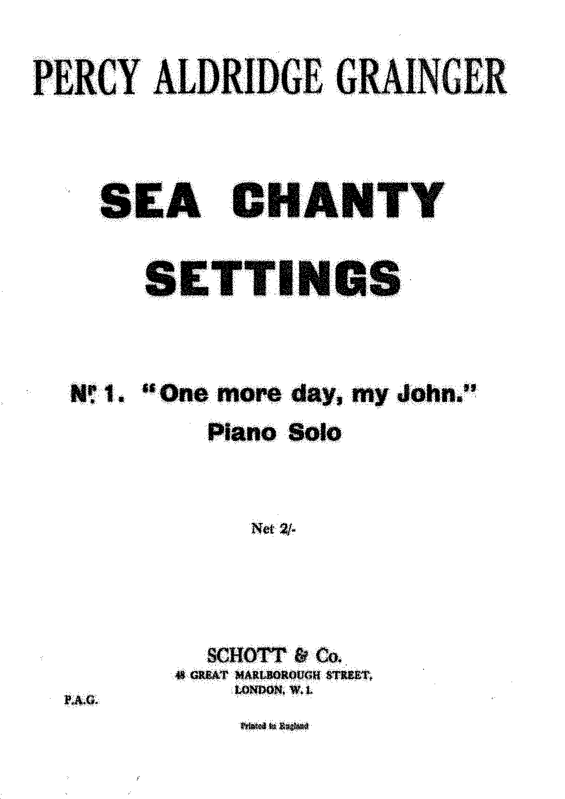 PMLP329380-Grainger - Sea Chanty Settings no 1 - One more Day my John - Schott Edition.pdf