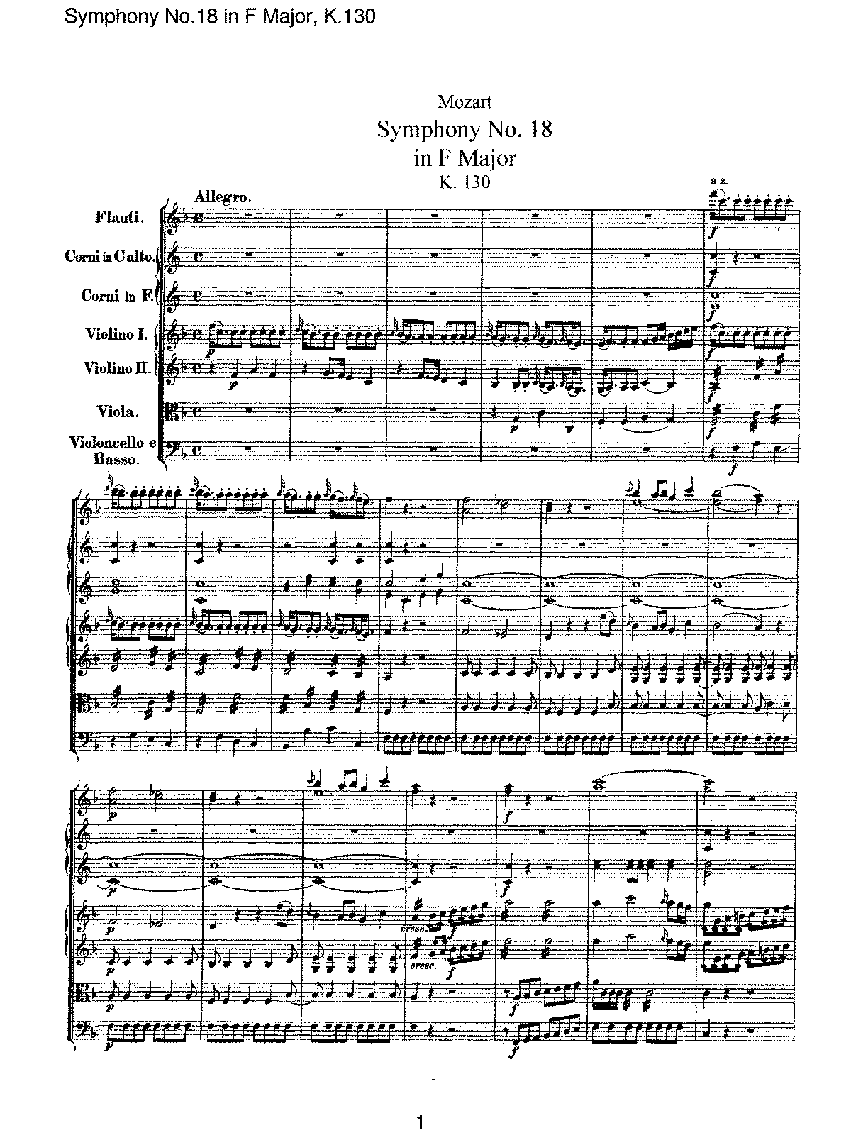 Mozart - Symphony No 18 in F Major, K130.pdf