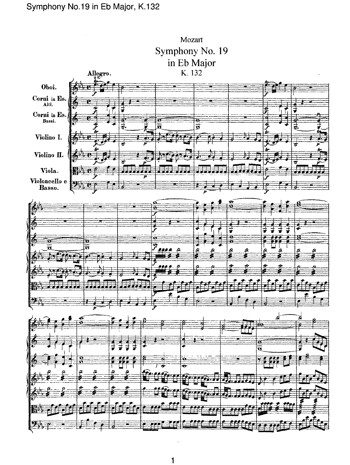 Mozart - Symphony No 19 in Eb Major, K132.pdf