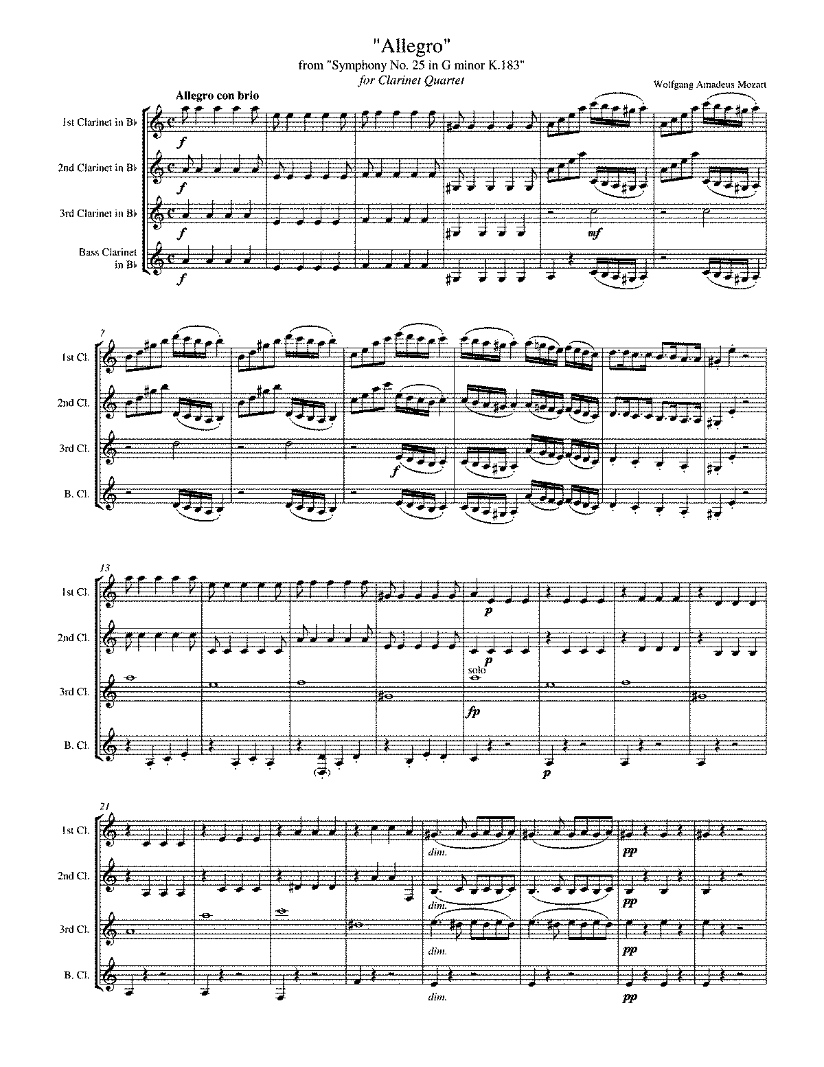 PMLP01544-Wolfgang Amadeus Mozart - Symphony No. 25 in G minor K. 183 for Clarinet Quartet.pdf