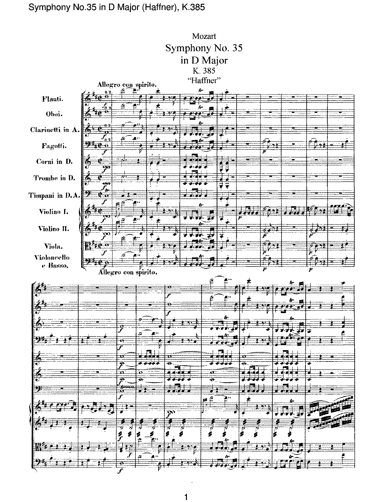 Mozart - Symphony No 35 in D Major (Haffner), K385.pdf
