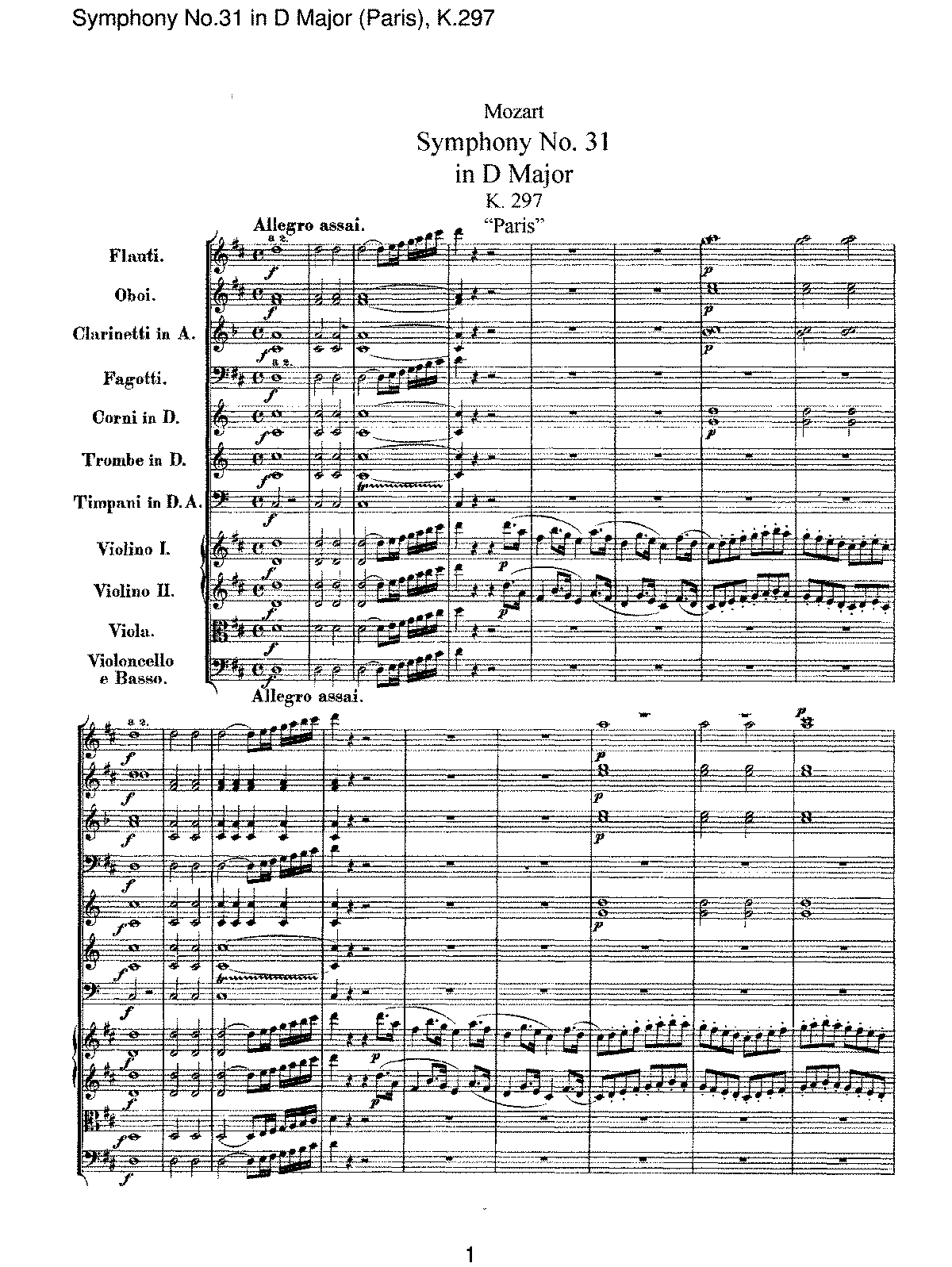 Mozart - Symphony No 31 in D Major (Paris), K.297.pdf