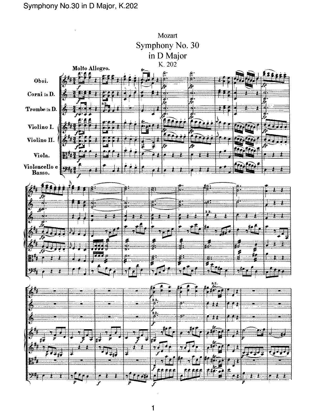 Mozart - Symphony No 30 in D Major, K202.pdf