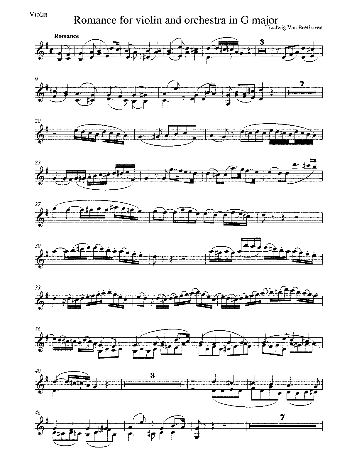 Beethoven - Romance for violin and orchestra op.40 - violin part.pdf