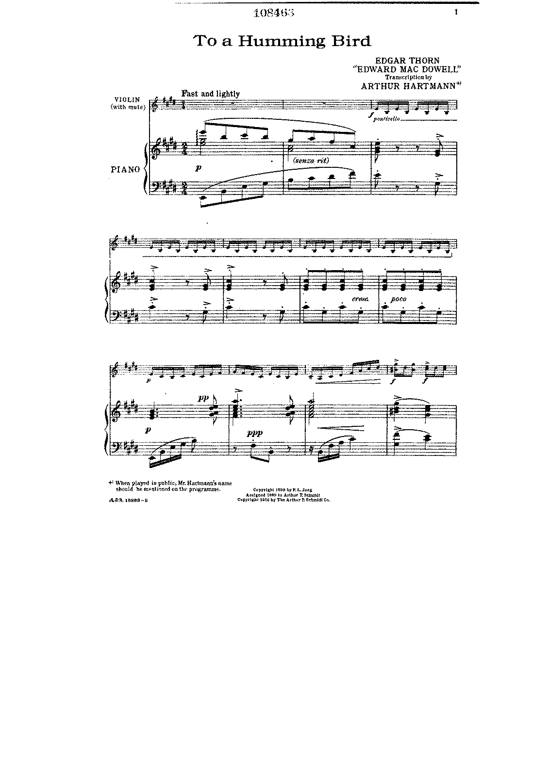 PMLP41488-MacDowell - To a humming bird (arr Hartmann) for violin and piano score.pdf