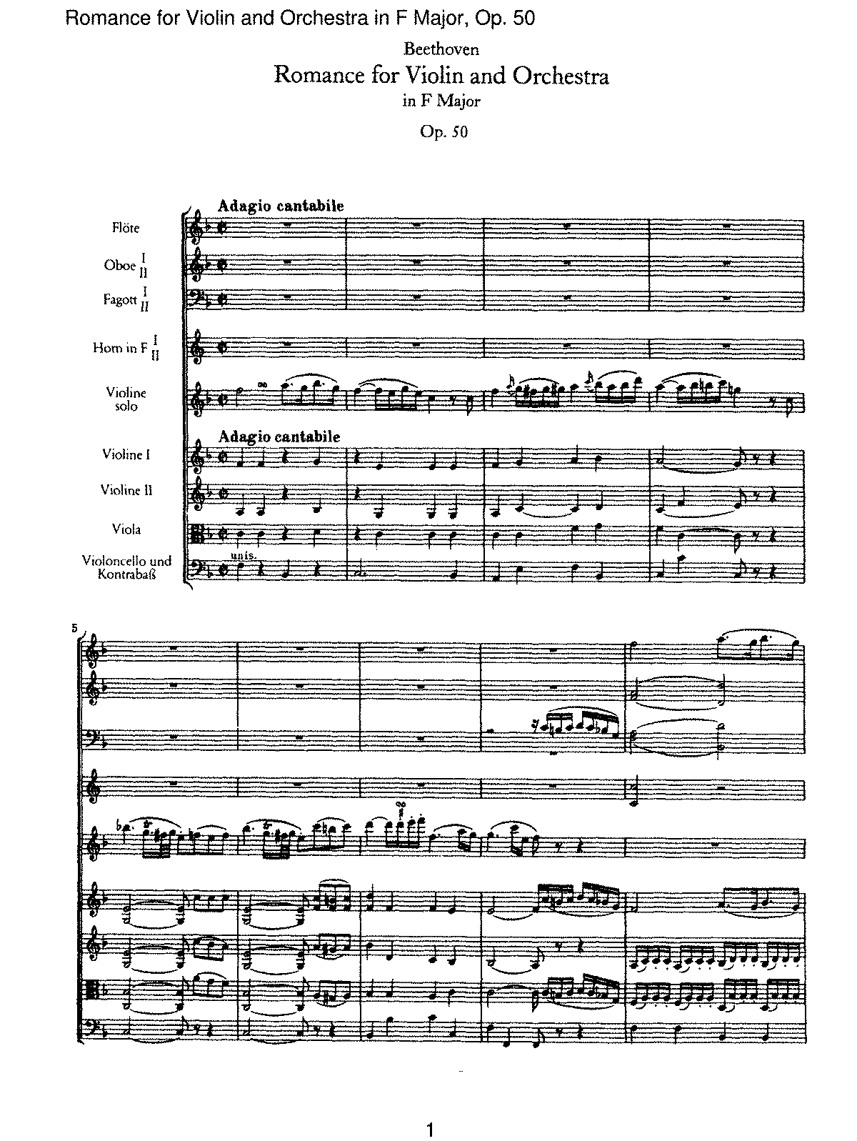 Beethoven - Romance for Violin and Orchestra in F Major, Op 50.pdf