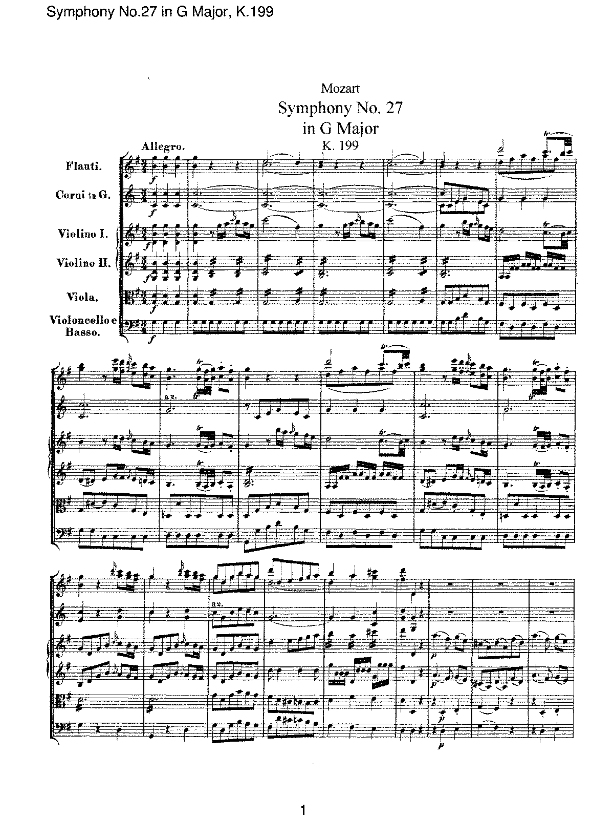 Mozart - Symphony No 27 in G Major, K.199.pdf