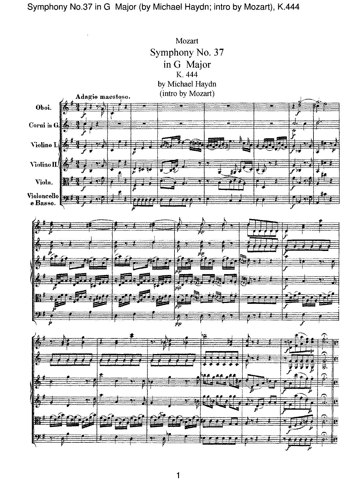 Mozart - Symphony No 37 in G Major (by Micheal Haydn-Intro by Mozart), K.444.pdf