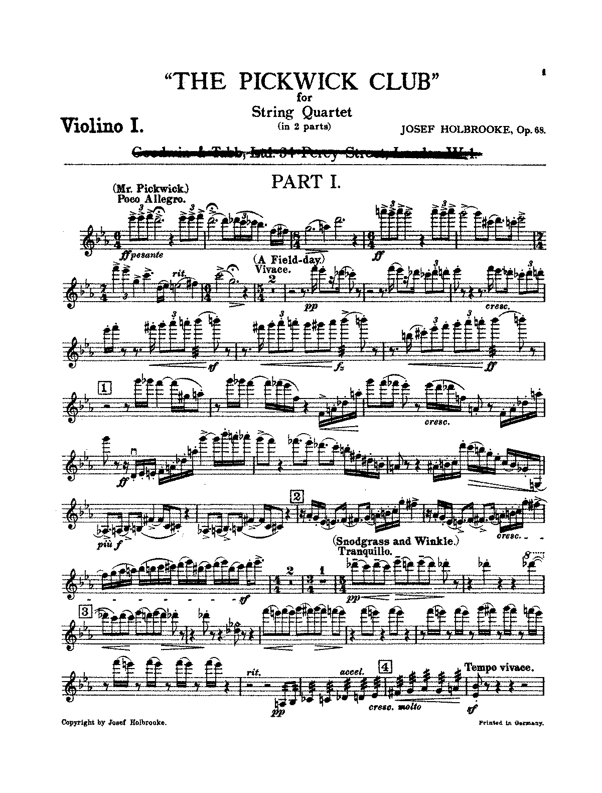 PMLP58243-Holbrooke - The Pickwick Club - A Humoreske in Two Parts for String Quartet Op 68 (Violino I).pdf