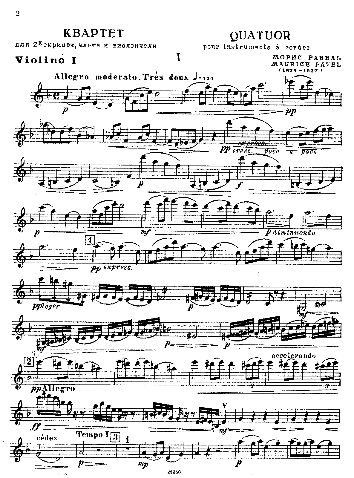 Ravel - String Quartet (Violin I).pdf