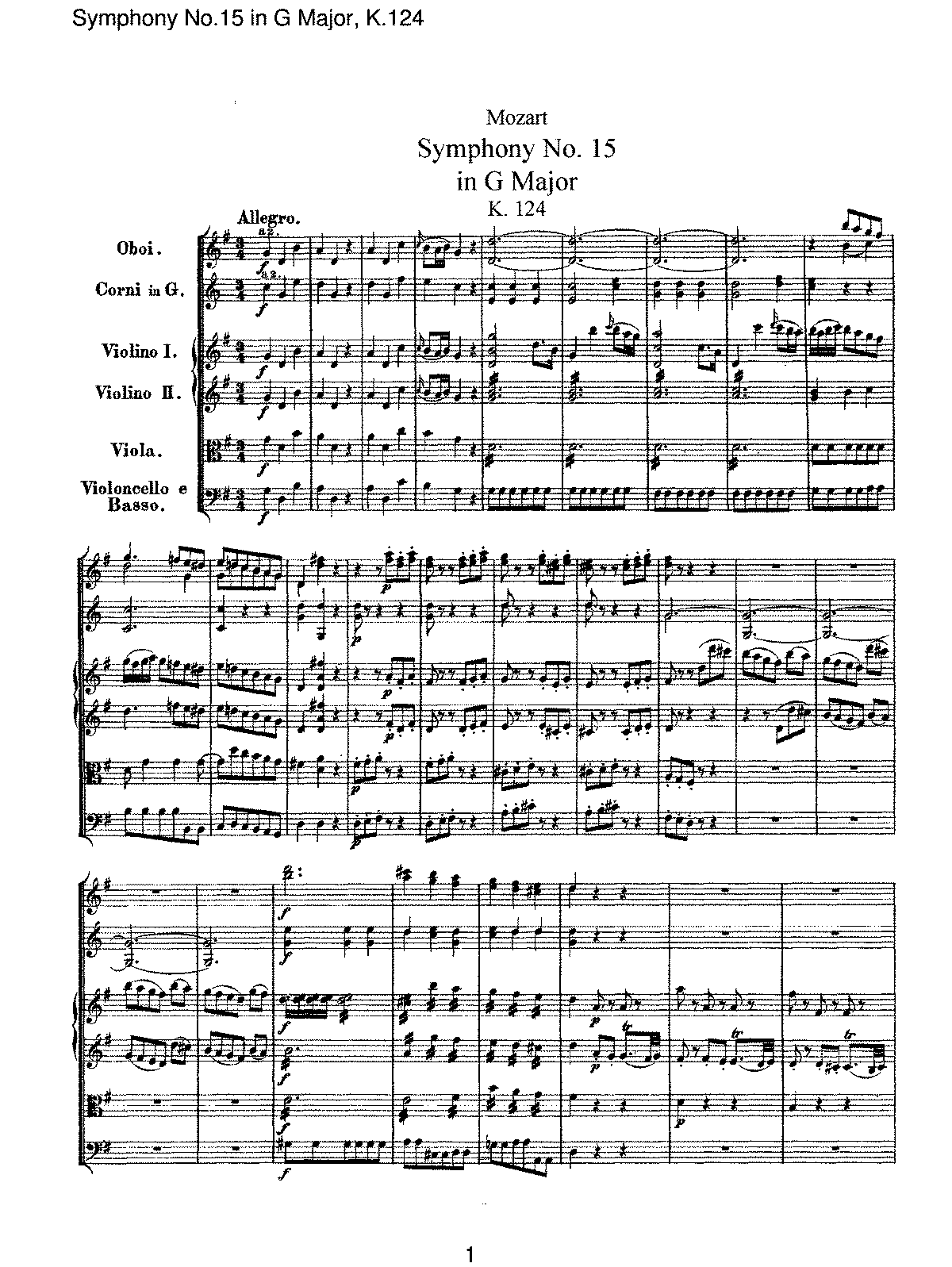 Mozart - Symphony No 15 in G Major, K124.pdf