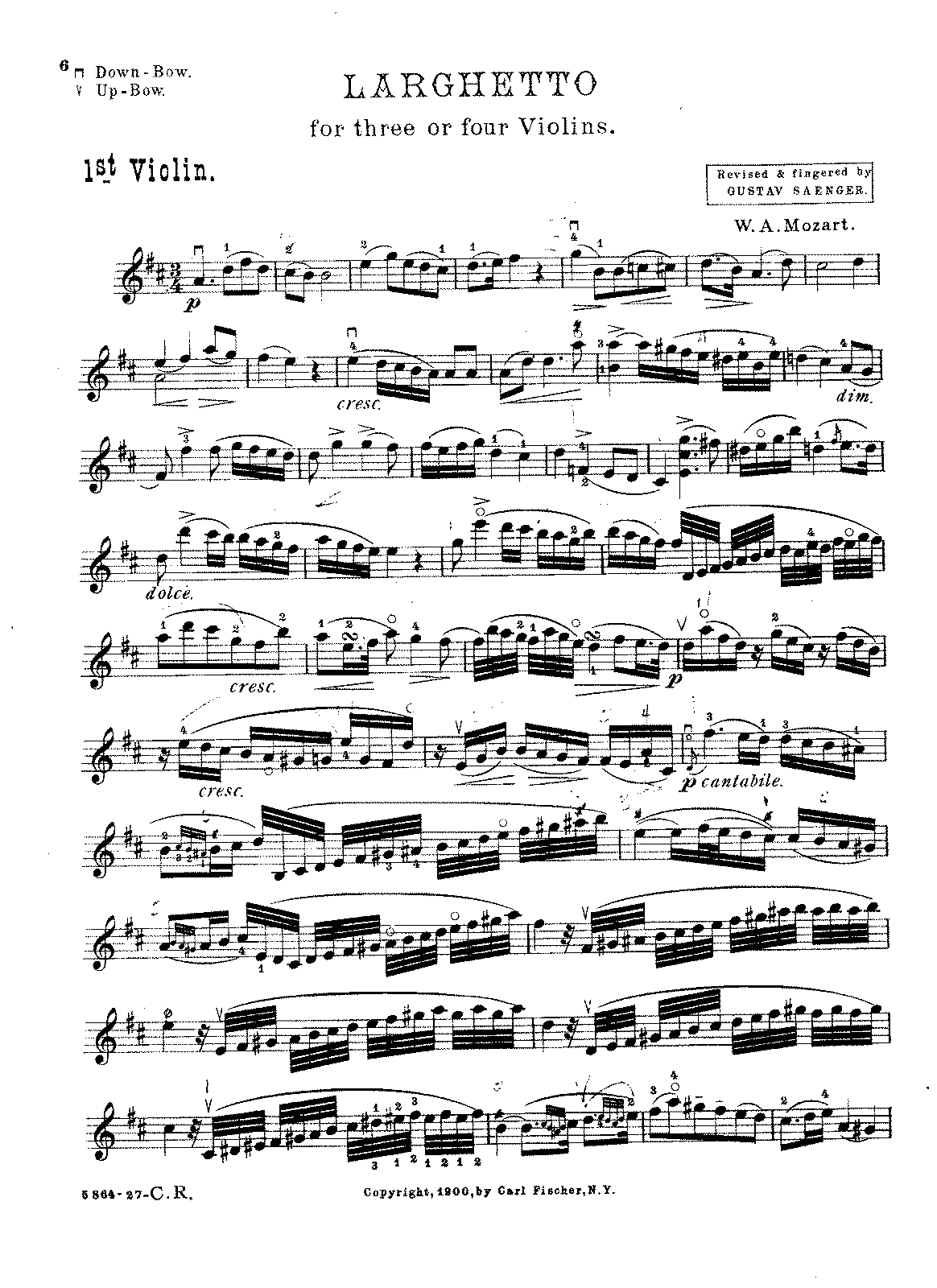 PMLP41876-Mozart - Larghetto K581 for 4 Violins (Saenger) Violin1.pdf