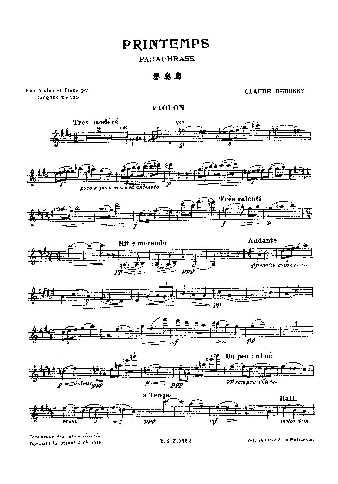 Debussy - Printemps (paraphrase by Durand - violin and piano).pdf