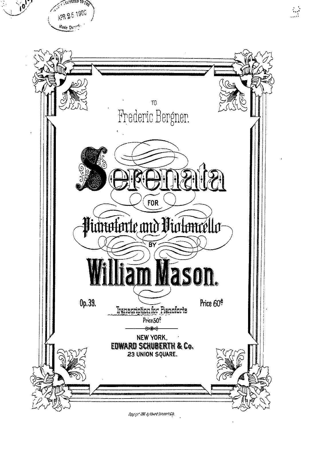 Mason, W. - Op.39 - Sereneta for Piano and Cello.pdf