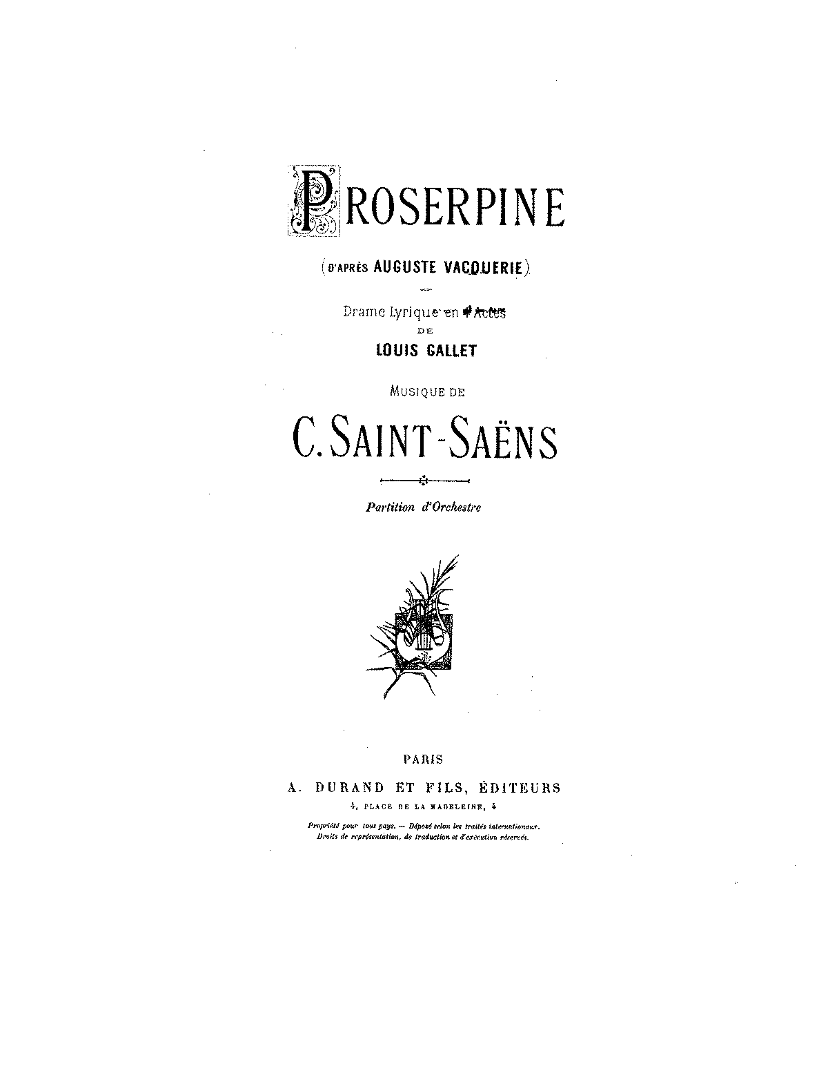 PMLP81374-Saint-Saens - Proserpine - 1 - Cover - Index - Nomenclature des Instruments - Act I.pdf