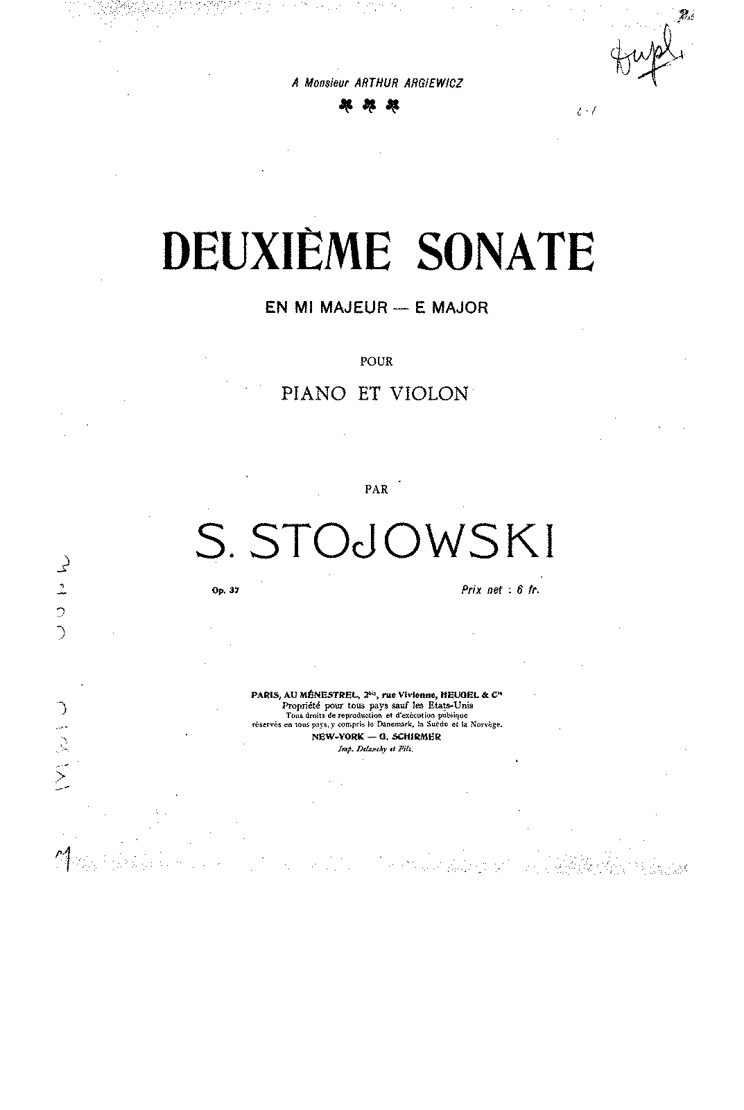 Stojowski - Op.37 - Sonata for Piano & Violin.pdf
