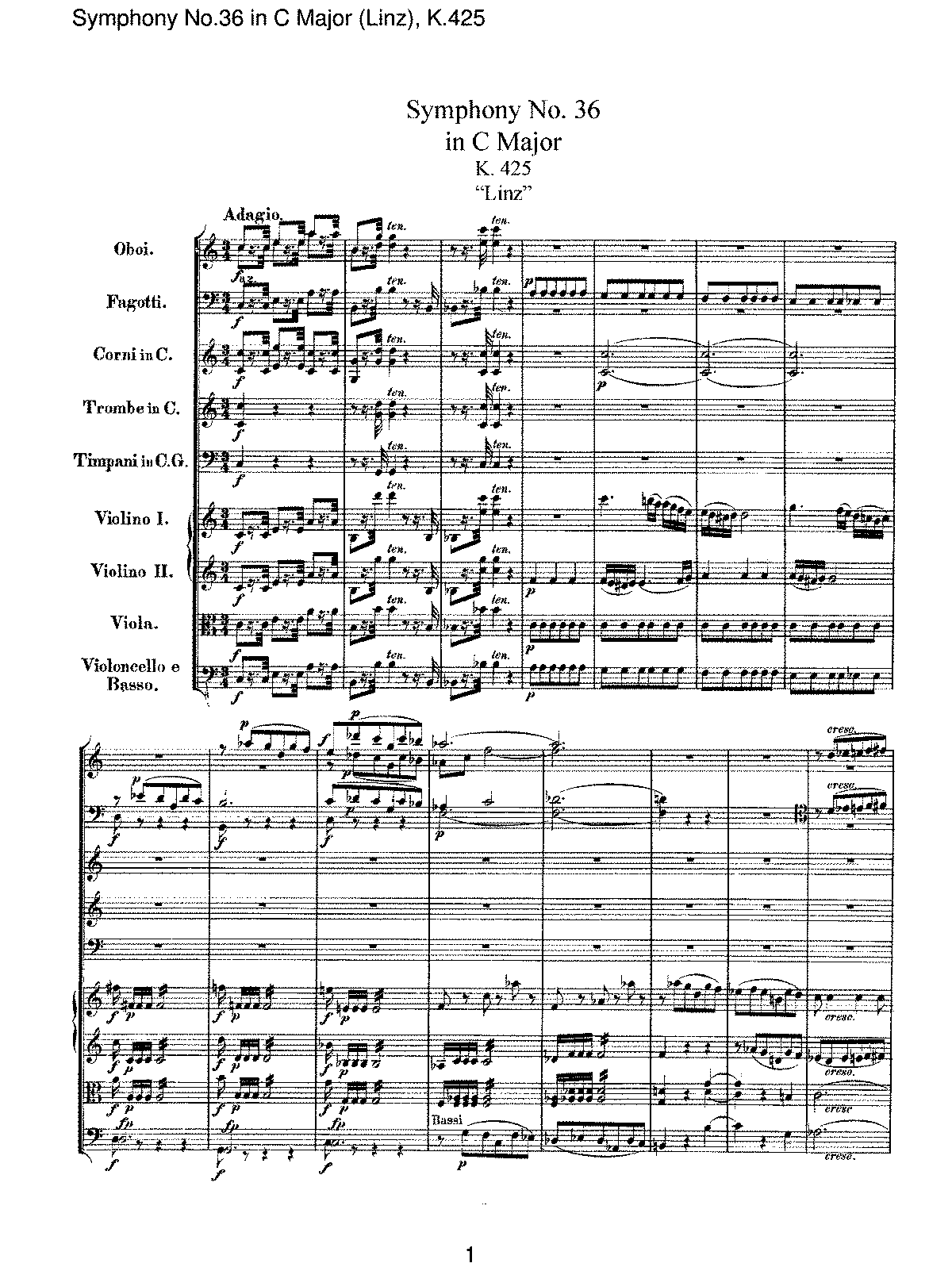 Mozart - Symphony No 36 in C Major (Linz), K425.pdf