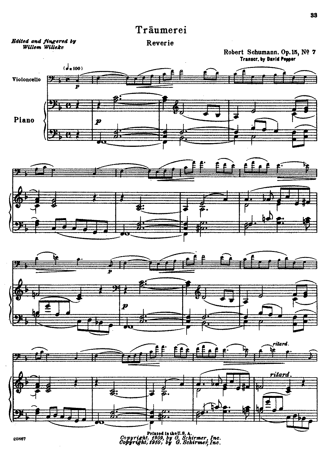 PMLP02799-Schumann - Traumerei Reverie Op15 No7 (trans Popper) (Willeke) for cello and piano.pdf